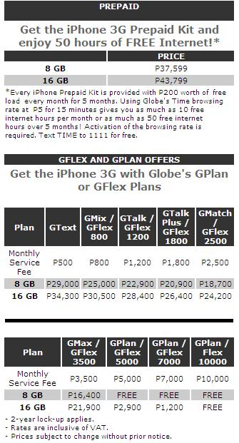 iPhone 3G Prepaid Plan Rates