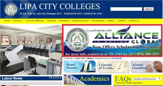 lipa city colleges aim global scholarship