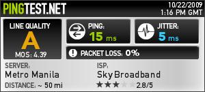 Sky Broadband Ping Test